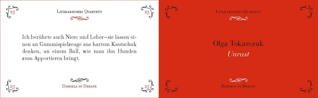 """Ein Beispielpärchen: Olga Tokarczuk """"Unrast"""" – unser erstes Buch."""